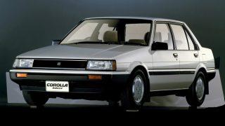 トヨタ カローラ (5代目 '83-'87):セダン系がFF方式に変更されると共に4輪独立懸架を採用 [E8♯]